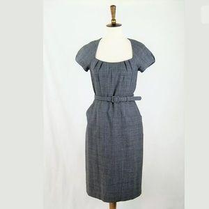 Banana Republic Plaid Belted Wool Sheath Dress 6